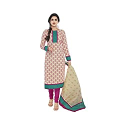 Stylish Girls Women Cotton Printed Unstitched Dress Material (SG317_pink_Free size)