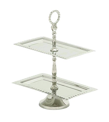 Benzara Steel 2 Tier Lavished Tray, Glistening Finish