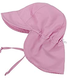 SimpliKids UPF 50+ UV Ray Sun Protection Baby Hat w/ Neck Flap & Drawstring,Pink,0-12Months