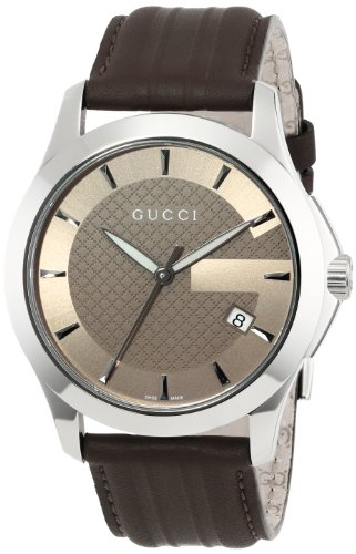 Gucci Men's YA126403 G-Timeless Medium Brown Dial Brown Leather Strap Watch
