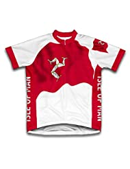 Isle Of Man Flag Short Sleeve Cycling Jersey for Women