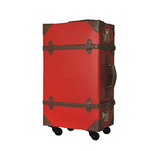MOA モア トラベル スーツケース トランク 48~62cm 3.7~4.5kg 22~34L PVC TSAロック 1~5日用 4TSA PVC (M, レッド×ブラウン)