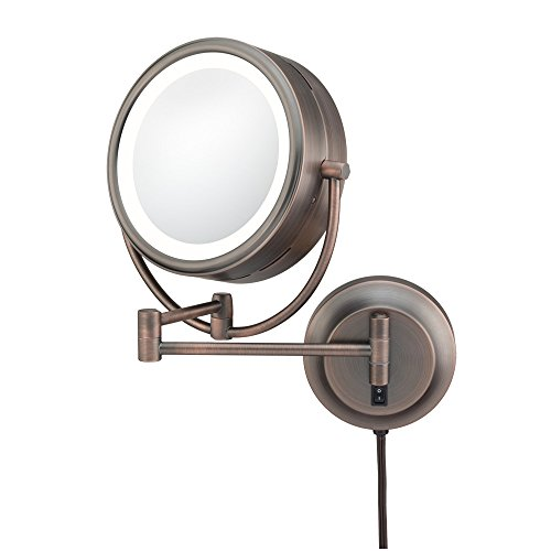 Kimball & Young 92515 Double-Sided Neo Modern Led Lighted Mirror, Plug-In, 1X And 5X Magnification, Italian Bronze front-753611