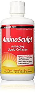 AminoSculpt Original Type 1 Liquid Collagen Peptides (Natural Cherry, 32 Fl Oz, 15,000 mg Strength) from Health Direct