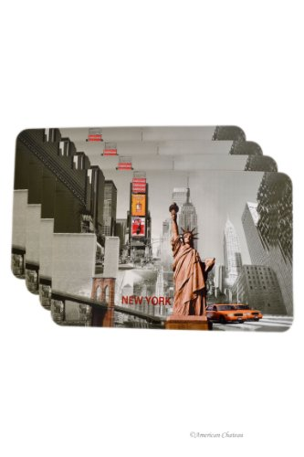 Set 4 New York City Statue of Liberty Pvc Kitchen Table Place Mats Placemats