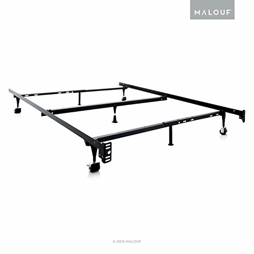 MALOUF Structures Heavy Duty 7-Leg LINENSPA Adjustable Metal Bed Frame with Center Support and Rug Rollers, (Queen, Full XL, Full, Twin XL, Twin)