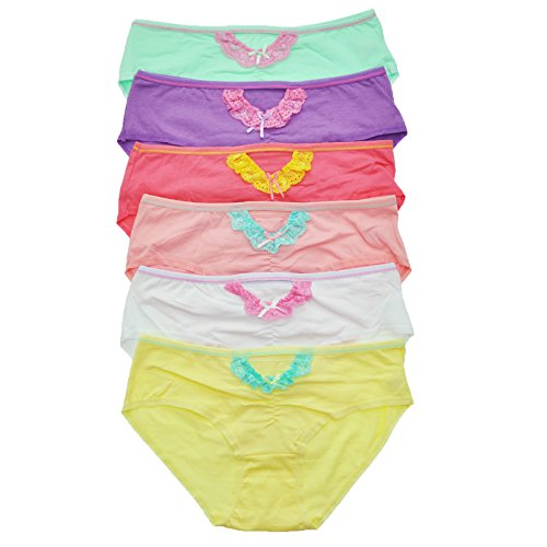 Angelina 6-Pack Sexy Bikinis with Front Cut-Out and Lace-Trim, Medium (4-6) (Angelina Panties Pack compare prices)