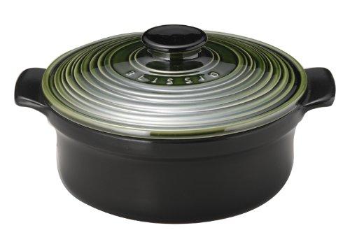 萬古焼 銀峯 ブリシオ キャセロール 高気密土鍋 24cm 織部釉 03241