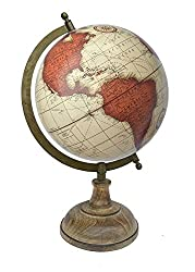 Globeskart Vintage Brick Red World Globe with Wooden Base and Brass Finish Arc /Antique Globe / Political Globe / Educational Globe / Home Decor / Gift Item / Brick Red
