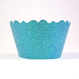 Bella Cupcake Couture 633131980295 Glitter Cupcake Wrappers, Sparkling Waters Blue, Set of 12