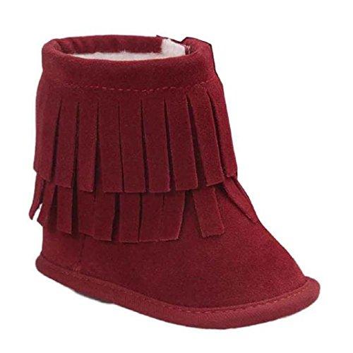 Kingko® Regalo di Natale del bambino del bambino del pattino infantile Snow Boots suola molle Prewalker greppia Scarpe Scarpe invernali Stivali per il neonato (0~6 mesi, Rosso)