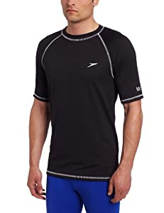 Speedo Men's UPF 50+ Easy Short Sleeve Rashguard Swim Tee,  Black,  X-Large