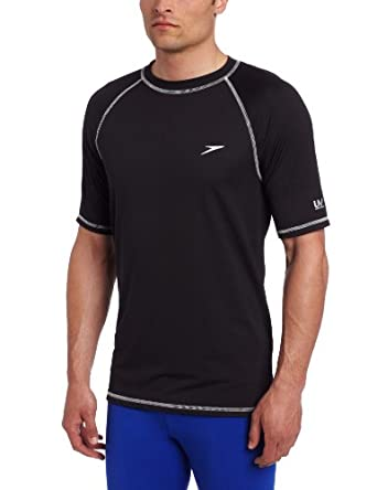 Speedo Men's UPF 50+ Easy Short Sleeve Rashguard Swim Tee, Black, Small