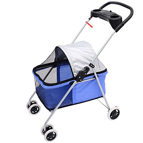 Pawhut Covered Folding Pet Stroller For Dogs And Cats - Blue front-732470
