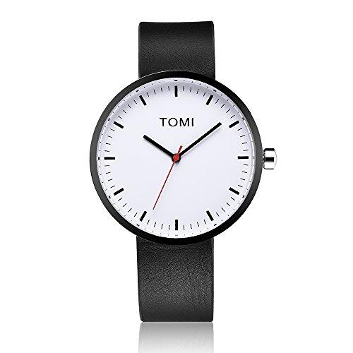 Tomi Watch 002 Quarzo Analogico Acciaio Inossidabile IP Nero Bianco Pelle Unisex Orologio Design