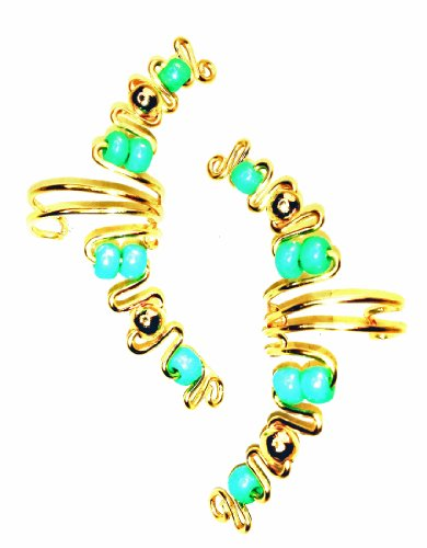 Ear Cuff/wrap Pair of Golden Wire with Turquoise Beads