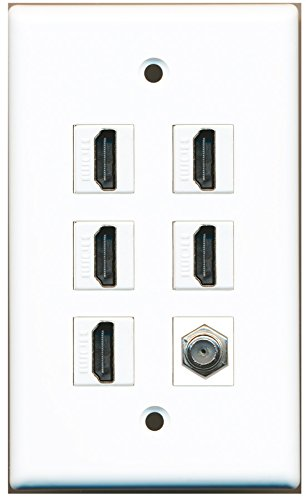 Riteav - 5 X Hdmi And 1 X Coax Cable Tv F Type Port Wall Plate White
