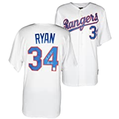 Nolan Ryan Texas Rangers Autographed 1993 Majestic Style Authentic Throwback White...