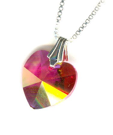 Girl's Pink Swarovski Crystal and Sterling Heart Pendant Necklace