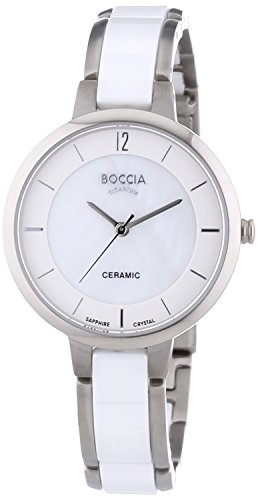 Boccia Women's Quartz Watch with Mother of Pearl Dial Analogue Display and White Ceramic Bracelet B3236-01