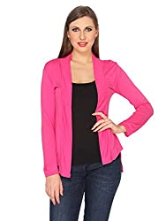 Ten on Ten Womens Cotton Viscose fabric Pink Shrug