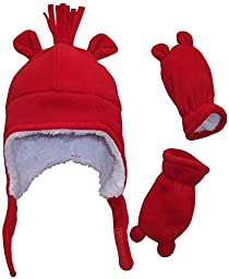 N\'Ice Caps Boys Sherpa Lined Micro Fleece Hat and Mitten Set with Ears (3-6 Months, Infant - Red)