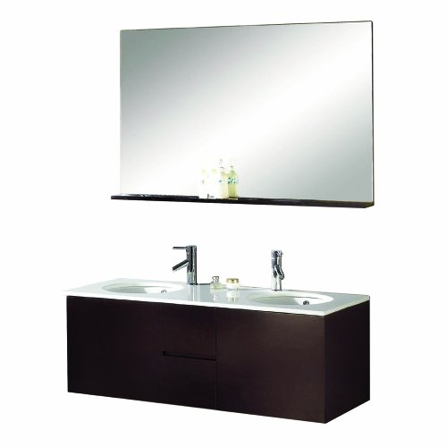 Virtu USA MD-421-S-ES Matteo 51-Inch Wall-Mounted Double Sink Bathroom Vanity, Faucets, White Stone Countertop, Integrated Basins, Mirror with Shelf, Espresso Finish
