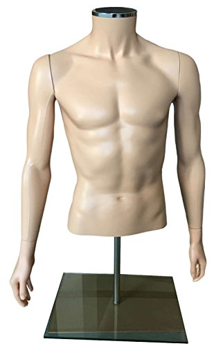 OM® Male Table Top Torso Mannequin Form Abstract Headless Style and Adjustable Height Flesh (EHMT1) Made By OM® (Sewing Mannequin Male compare prices)