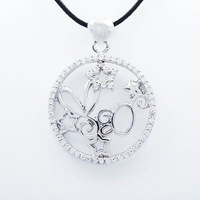 Stylish 925 Sterling Silver Taurus Pendant with Cubic Zircon Inlay