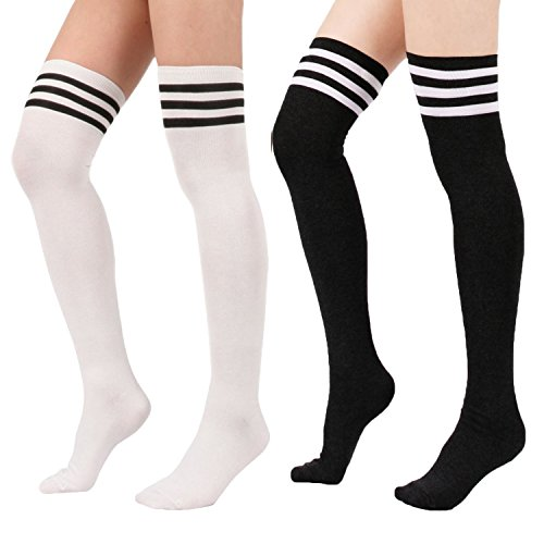 Zando Women's Cotton Triple Stripe Over the Knee Thigh High Socks Tights 2Pairs-Black/White