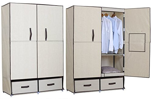 woltu ss5023be kleiderschrank mit fl gelt r garderobenschrank faltschrank stoff textil. Black Bedroom Furniture Sets. Home Design Ideas