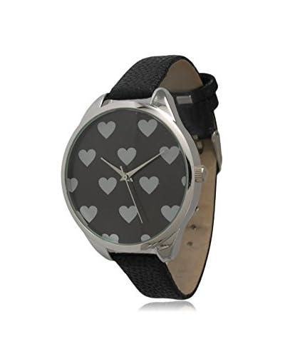 Olivia Pratt Women's 13942 Black Heart Print Leather Watch