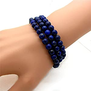 Stunning 6mm Round Lapis-lazuli Bead Stretchy Wrap Bracelet / Necklace