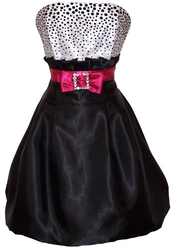 Black White Polka Dot Bubble Mini Cocktail Prom Dress Holiday Party Gown, Size: 2X, Color: black/white/fuchsia
