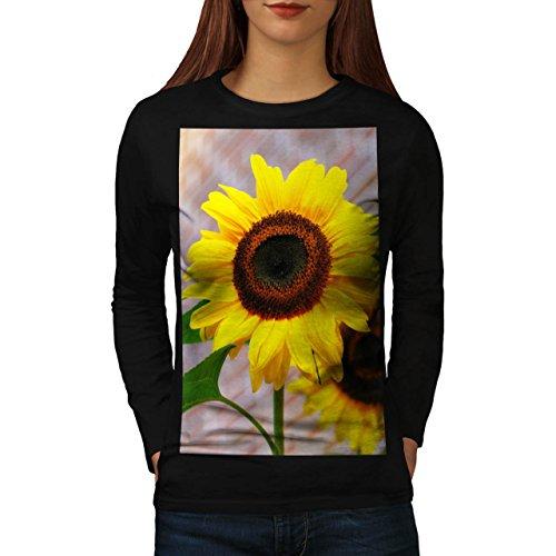 yellow-sun-flower-nature-beauty-women-new-black-xl-long-sleeve-t-shirt-wellcoda