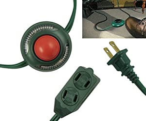 9 foot westinghouse 3 outlet green foot tapper extension cord with safety covers. Black Bedroom Furniture Sets. Home Design Ideas