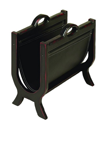 Deco 79 Wood Leather Magazine Holder, 17-Inch by 16-Inch