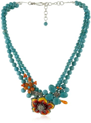 "Karen London ""Natural Stones Flower"" Sunflower Necklace"