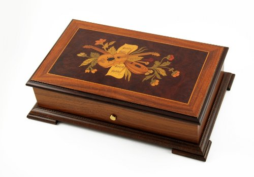 Traditional 72 Note Sankyo Music Box With Music Instruments And Flower Inlay With Please Choose A 72 Note Set Of Tune(S)-Eine Kleine Nachtmusic (3 Parts, Allegro, Minuet, Romance)