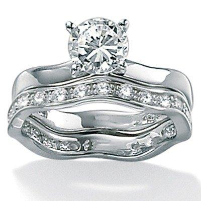 Platinum/Silver Round Cubic Zirconia Wedding Set Size: 7