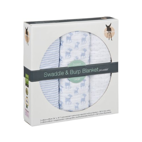 Lassig Lela The Fawn Swaddle and Burp Blankets, Light Blue, Large
