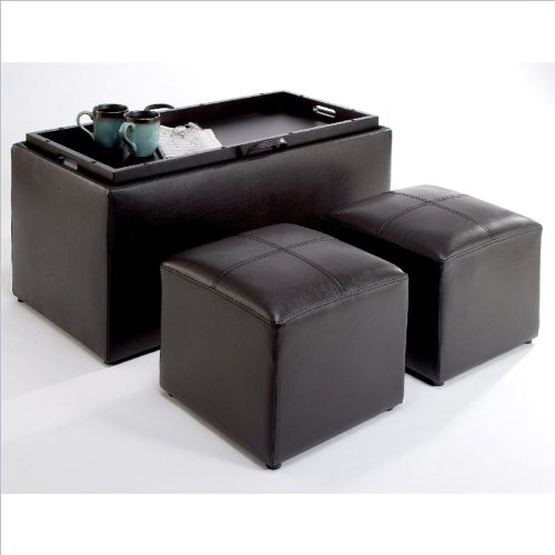 Convenience Concepts 143012 Sheridan Faux Leather Storage Bench with 2 Side Ottomans, Dark Espresso image