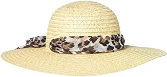 Capelli New York Wide Paper Floppy Hat With Leopard Print Band Natural