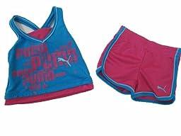 Puma Short Set Infant/toddler Girls Ocean Blue 2-piece 12 Months