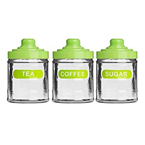 set of 3 lime green colour glass 760ml tea coffee sugar green amp white stripe ceramic kitchen canister set