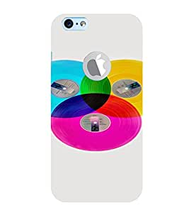 PrintVisa Colorful Records Design 3D Hard Polycarbonate Designer Back Case Cover for Apple iPhone 6 Logo