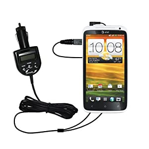 2nd Generation Audio FM Transmitter and Car Vehicle Charger suitable for the HTC One X - Uses Gomadic TipExchange Technology