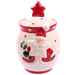 Jolly Red Santa Ceramic White Cookie Jar: Amazon.co.uk ...