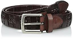Tommy Bahama Men\'s Leather Laced Belt, Tan, 40
