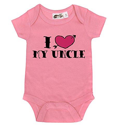 I <3 My Uncle Tattoo Bubblegum Pink & Magenta One Piece (6-12 Months) front-785326